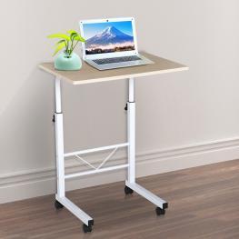Homcom® Mesa de Ordenador Altura Ajustable Mesa Compacta Con Ruedas 60X40X68-78Cm<br> - Color: Blanco y Madera