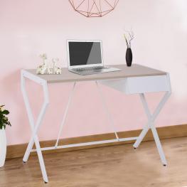 Homcom Mesa de Ordenador Con Cajón Escritorio de Oficina Mesa de Estudio Para Hogar Mobiliario de Oficina 105X56X75Cm<br> - Color: Roble y Blanco