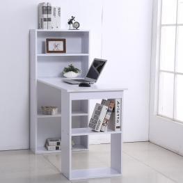 Homcom® Mesa de Ordenador Con Librería Estantes Escritorio Para Oficina 120X55X120Cm Blanca - Color: Blanco