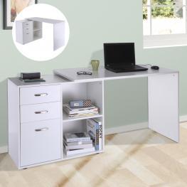 Homcom® Mesa de Ordenador Escritorio 2 Formas Con 2 Estantes 3 Cajones Madera Blanco<br> - Color: Blanco