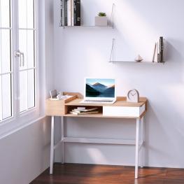 Homcom® Mesa de Ordenador Escritorio de Computadora Con Cajón Madera y Metal 100X55X81.5Cm<br> - Color: Roble y Blanco