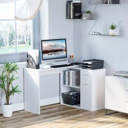 Homcom® Mesa de Ordenador Escritorio Mesa Esquinera Con Librería Oficina Multi-Formas Giratorio 180° Con 2 Estantes 1 Cajón 1 Puerta Blanco<br> - Colo