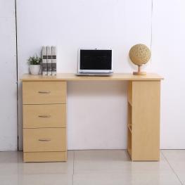 Homcom® Mesa de Ordenador Escritorio Para Oficina 3 Cajones 3 Estantes 120X49X72Cm Madera Natural - Color: Madera Natural