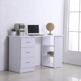 Homcom® Mesa de Ordenador Escritorio Para Oficina 3 Cajones 3 Estantes 120X49X72Cm Blanca<br> - Color: Blanco