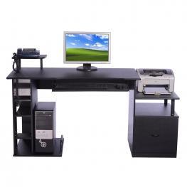 Homcom® Mesa de Ordenador Escritorio Para Oficina Negro Madera Mdf 152X60X88Cm<br> - Color: Negro