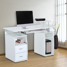 Homcom® Mesa de Ordenador Escritorio Pc Despacho Dormitorio Hogar Oficina Escuela Blanco Madera 120X55X85Cm<br> - Color: Blanco