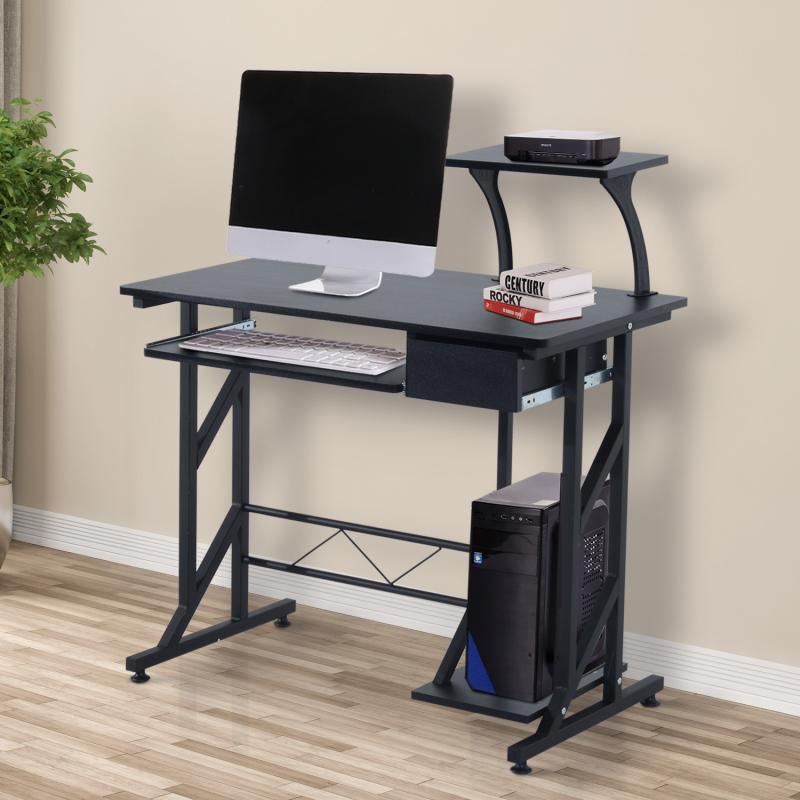 Homcom Mesa de Ordenador Pc Despacho Escritorio Mobiliario Oficina Madera Negro 90X50X95Cm - Color: Negro