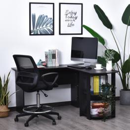 Homcom Mesa de Ordenador Pc Escritorio Para Oficina Hogar Tipo Esquinera Forma L Con Estantes Negro  - 136.2X130.4X72Cm  - Color: Negro