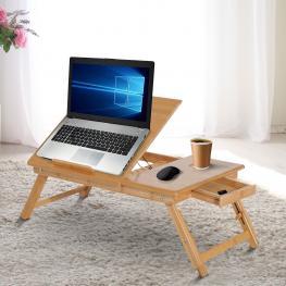Homcom® Mesa de Ordenador Portátil Bambú Plegable Altura Ajustable 1 Cajón 55X35X22-30Cm<br> - Color: Natural Bambú