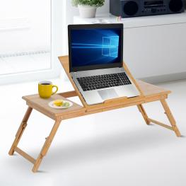 Homcom® Mesa de Ordenador Portátil Bambú Plegable Altura Ajustable 1 Cajón 72X35X22-30Cm  - Color: Natural Bambú