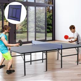 Homcom Mesa de Ping Pong Plegable Con Red  - Color Azul – Acero y Mdf – 152.5 X 274 X 76Cm  - Color: Azul