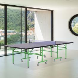 Homcom® Mesa de Ping Pong Plegable Con Ruedas Patas Ajustables Acero Azul 274X152.5X76Cm<br> - Color: Azul