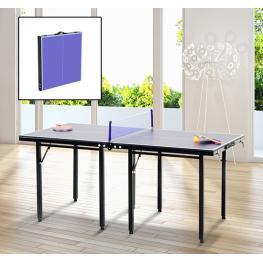 Homcom Mesa de Ping Pong Plegable Infantil  - Color Azul  - Acero y Mdf  - 153X76,5X67 Cm  - Color: Azul