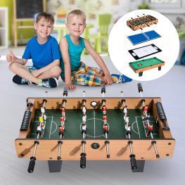 Homcom Mesa Multijuegos 4 En 1 Incluye Futbolín Air Hockey Ping-Pong y Billar - Juguete de Madera Para Niños y Adultos - 87X43X28Cm - Color: Madera