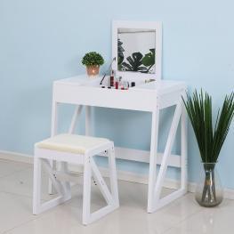 Homcom® Mesa Para Maquillaje Tocador Con Taburete Espejo Tapa Abatible 9 Compartimientos de Almacenaje 80X50X76Cm<br> - Color: Blanco