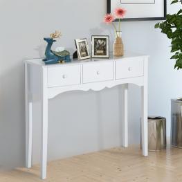 Homcom Mesa Recibidor de Entrada y Mesa Auxiliar Con 3 Cajones - Color Blanca - 100X32X85Cm - Color: Blanco