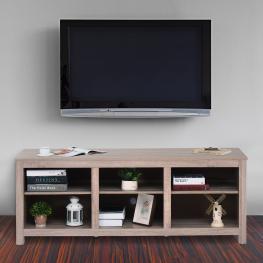 Homcom Mesa Soporte Tv Multimedia Mueble Tv Estantería Multiusos de Salón Comedor Mesa Para Tv Con 3 Estantes Ajustables 160X40X61Cm Carga 70Kg Madera
