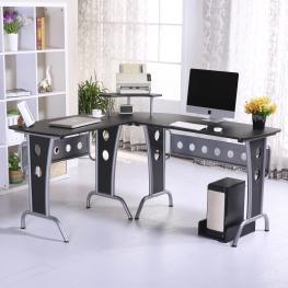 Homcom Mesas de Ordenador Madera Negro 165X145X86Cm - Color: Negro
