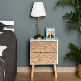 Homcom® Mesita de Noche Madera Con 2 Cajones Comoda Rústica Cajonera Mesilla Mueble Para Dormitorio 40X30X55.5Cm - Color: Blanco y Madera