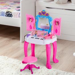 Homcom® Mesita Tocador Infantil Juguete Piano Con Taburete 15 Accesorios Espejo Con Remoto  - Color: Rosa y Azul
