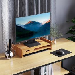 Homcom® Monitor Soporte de Bambú Elevador de Pantallas Mesa de Ordenador Portátil Organizador de Escritorio 49X25.5X11.5Cm  - Color: Bambú Natural