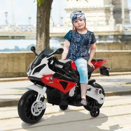 Homcom Moto Bmw Correpasillos A Batería Niños Mayores de 3 Años Moto Eléctrica Infantil 12V Con Luces y Sonidos Ruedas Seguras 110X47X69Cm Pp  - Color