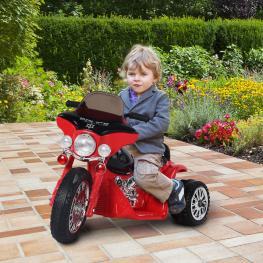 Homcom Moto Eléctrica Coche Triciclo Para Niños 3-8 Años Con Batería 6V Metal y Pp - 80X43X54.5Cm -