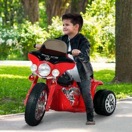 Homcom Moto Eléctrica Coche Triciclo Para Niños Mayores de 18 Meses Con Batería 6V Metal y Pp<br> - 80X43X54.5Cm<br> - Color: Estructura Blanca y Negr