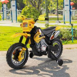 Homcom® Moto Electrica Infantil Bateria 6V Recargable Niños 3-6 Años Cargador y Ruedas Apoyo Color Amarillo  - Color: Amarillo y Negro