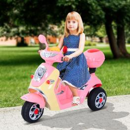 Homcom Moto Eléctrica Infantil Correpasillos Niños 3-8 Años 6V Metal + Pp 108X51X75Cm Rosa  - Color: Rosa