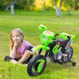 Homcom Moto Eléctrica Infantil de Bateria Con Ruedas de Apoyo<br> - Color Verde<br> - Material Pp<br> - Color: Verde