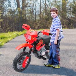 Homcom® Moto Eléctrica Infantil de Bateria Con Ruedas de Apoyo Color Rojo Material Pp  - Color: Rojo