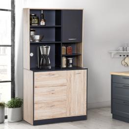 Homcom® Mueble Auxiliar Organizador 5 Estantes 3 Cajones 2 Puertas Roble y Negro Madera 90X39X169Cm - Color: Roble y Negro