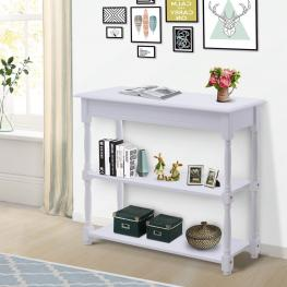 Homcom® Mueble Recibidor Pasillo Mesa Consola Entrada Con 2 Estantes Blanco Madera 100X30X80Cm - Color: Blanco
