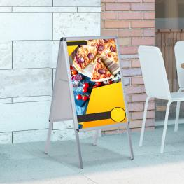Homcom Panel Publicitario de Doble Cara<br> - Color Blanco<br> - Aluminio y Pvc<br> - 64X8X121Cm<br> - Color: Blanco