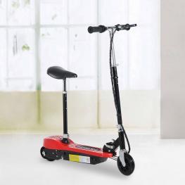 Homcom® Patinete Eléctrico Plegable E-Scooter Batería 120W Manillar Asiento Ajustable Rojo  - Color: Rojo