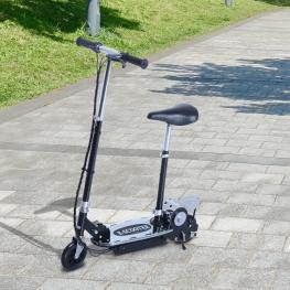 Homcom Patinete Eléctrico Scooter Plegable Con Manillar y Asiento Ajustable - Color Negro - 81.5X37X96Cm - Color: Negro