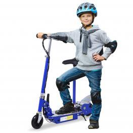 Homcom Patinete Eléctrico Scooter Plegable Con Manillar y Asiento Ajustable  - Color Azul  - 81.5X37X96Cm  - Color: Azul