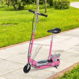 Homcom Patinete Eléctrico Scooter Plegable Con Manillar y Asiento Ajustable Rosa 81.5X37X96Cm  - Color: Rosa