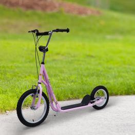 Homcom Patinete Infantil Con 2 Ruedas 2 Frenos y Caballete<br> - Color Rosa<br> - Aluminio<br> - 125X58X92-100 Cm Con Ruedas Grandes<br> - Color: Rosa