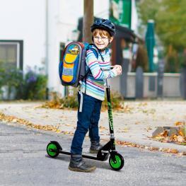 Homcom Patinete Para Niños Scooter de Evolución Plegable Manillar Ajustable Marco Aluminio Ligero y Estable Carga 50Kg Verde<br> - 70X34X70-84Cm<br> -