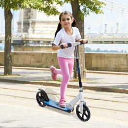 Homcom Patinete Para Niños Scooter Plegable Manillar Ajustable Marco Aluminio Ligero y Estable Carga 100Kg Blanco<br> - 68X34X60-73.5Cm<br> - Color: C