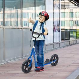 Homcom® Patinete Scooter 2 Ruedas Manillar Ajustable Azul 120X52X75-86Cm - Color: Azul