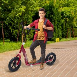 Homcom® Patinete Scooter 2 Ruedas Manillar Ajustable Rojo 120X52X80-88Cm  - Color: Rojo