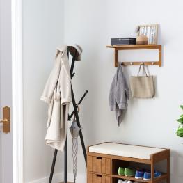 Homcom® Perchero de Pared de Bambú Estante Toallero de Pared 4 Ganchos Para Entrada Salón Baño Pasillo Dormitorio 50X17X20Cm Carga 5Kg - Color: Bambú