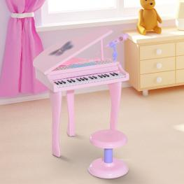 Homcom® Piano Infantil Electrónico Juego de Piano Con Micrófono 37 Teclas Teclado<br> - Color: Rosa