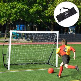 Homcom Portería de Fútbol Portátil Para Niños y Adultos Con Marco de Acero y Bolsa de Transporte  - 183X50X122Cm  - Color: Negro y Blanco