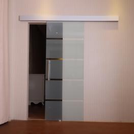 Homcom Puerta Corredera de Cristal Translucido Con Rayas Transparentes  - Vidrio y Aleación de Aluminio  - 77.5 X 205Cm  - Color: Translúcida
