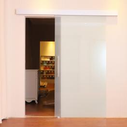 Homcom® Puerta Corredera Satinada de Cristal Sin Obra<br> - 205X77.5 Cm<br> - Color: Translúcida