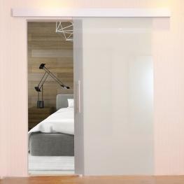Homcom® Puerta Corrediza de Cristal Sin Obra Vidrio Satinado 205X102.5 Cm<br> - Color: Translúcida